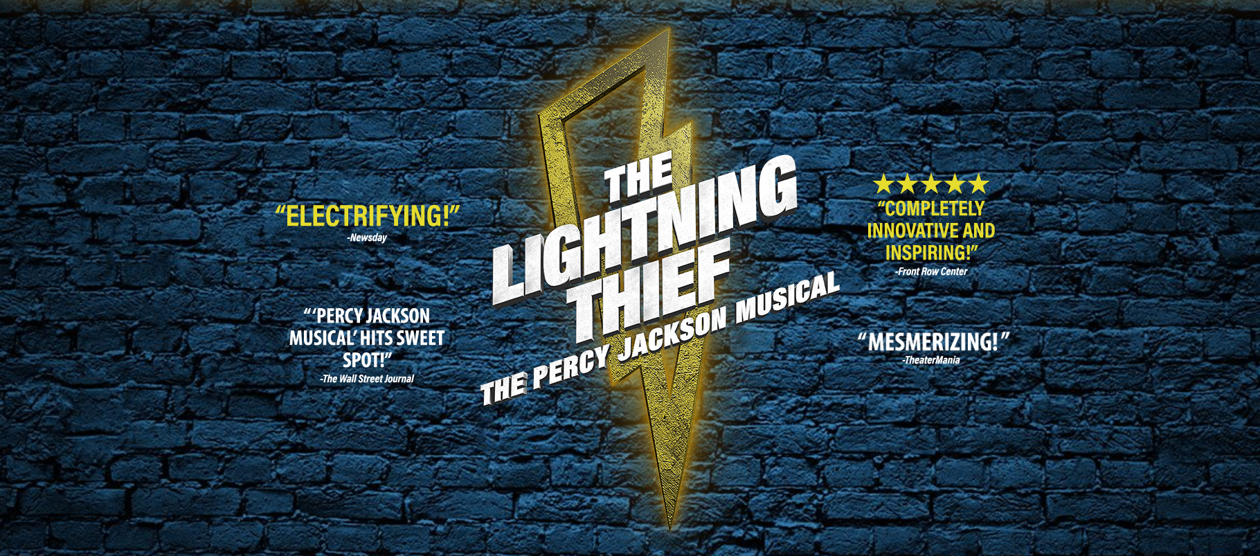 A lightening bolt outline appears on a blue brick background. It reads The Lightening Thief, The Percy Jackson Musical.