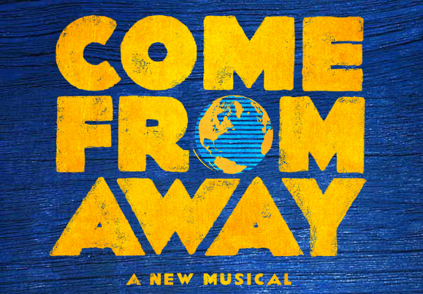"Come From Away is written in a bright yellow, with the O in the word ""from"" drawn as the globe. The background is a deep blue wood grain."