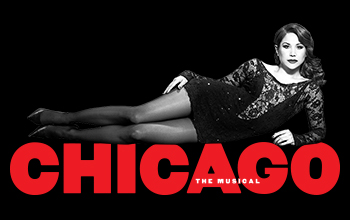 A scantily clad woman reclines above the show title. Chicago is written in red sequin letters.