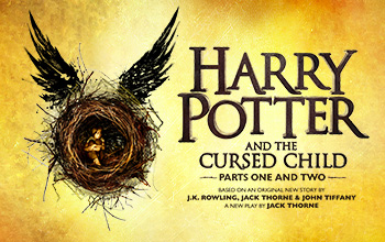 "On a golden background a birds nest with a child huddling inside with his knees into his chest and wings on top is left of the title ""Harry Potter and the Cursed Child parts one and two based on an original story by J.K. Rowling, Jack Thorne & John Tiffany. A new play by Jack Thorne."""