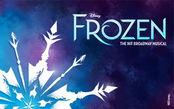 Disney's Frozen The Broadway Musical - A graphic of a snowflake made out of arrows and silhouettes of the character Elsa on the left with a light blue background fading to a dark blue background as it moves right to the logo of the show.
