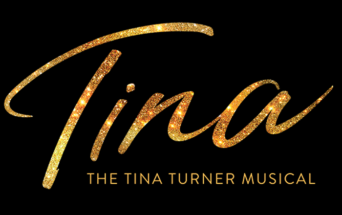 Tina is written to appear like an autograph in sparkling gold. The Tina Turner Musical is written below.