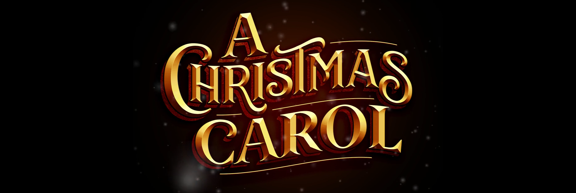 A Christmas Carol logo is written in gold cursive letters on a dark background.
