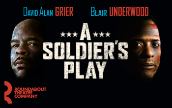 A Soldier's Play logo in block white letters on a black background. The faces of David Alan Grier and Blair Underwood appear on either side.