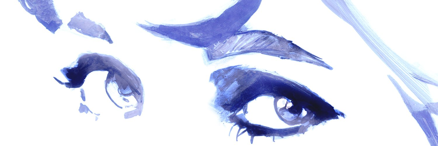 Princess Diana's eyes are painted in a blue watercolor style.