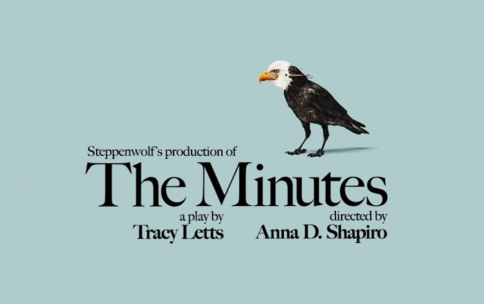 A black and white bird stands on a blue background. The Minutes is a Steppenwolf production of a Tracy Letts play, directed by Anna D Shapiro.