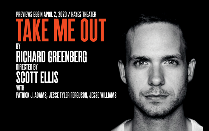 Patrick J Adams is pictured. Take Me Out also starts Jesse Tyler Ferguson and Jesse Williams.